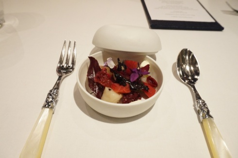 2nd Course: Salad of albino and chioggia beetroots, preserved wild cherries, goat's curd, scorched beet leaves, violets
