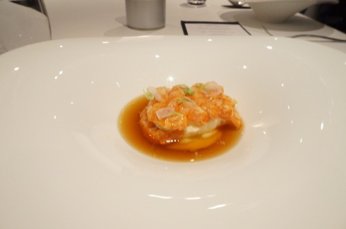 Course 3: Red claw yabbies, garlic scented custard, yabby velvet