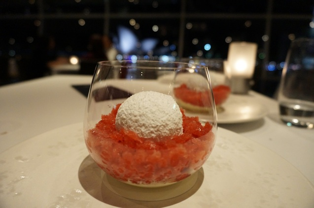 8th  Course: Raspberry and vanilla snow egg